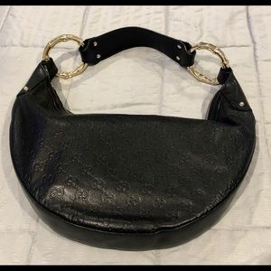 Authentic Gucci black leather hobo bag